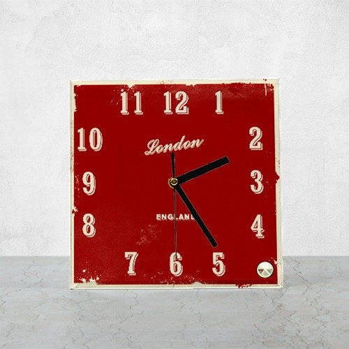 [SignStyle] London, color square glass station clock SKU BP6-WLDC1