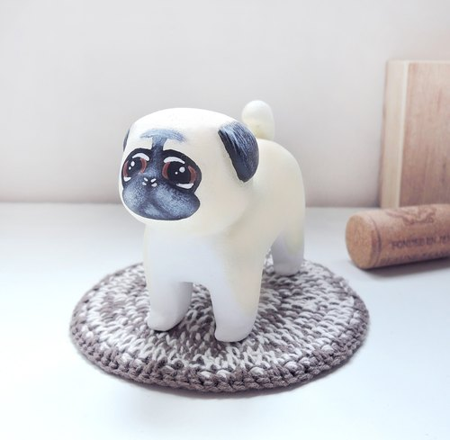 Resentment pity brother decorated wood handcraft wooden carving Pug