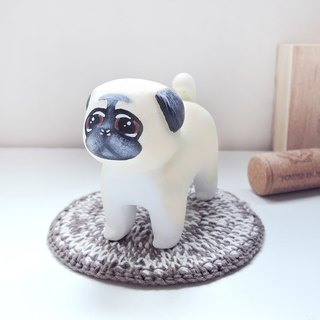 Pleasant little buddy ornaments handmade wooden healing small wood carving pug