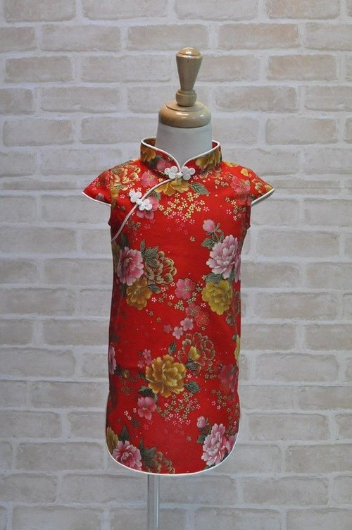 Angel Nina hand made to order child cheongsam Chinese style flowers birthday party arrested weeks applies red