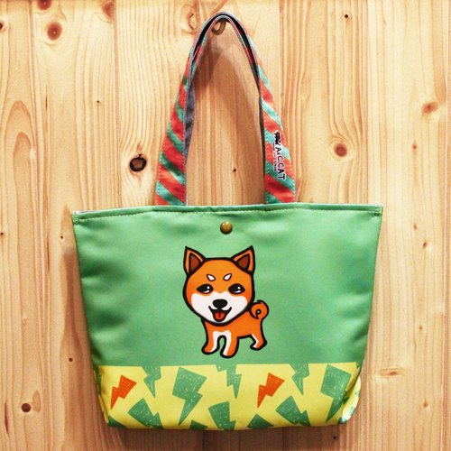 Skilled Cat Cat [x] Urban Out Tote Bag lunch bags Shiba Inu dog grass green lightning