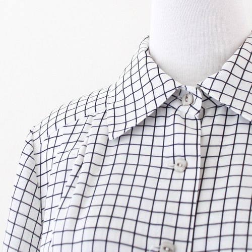 [RE0812D465] Great fresh and simple beige short-sleeved plaid checkered vintage dress