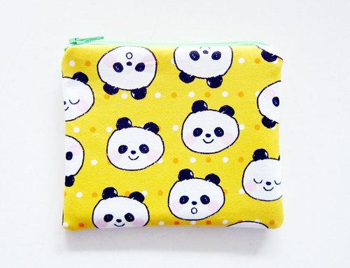 Zipper bag / purse / mobile phone sets little panda yellow
