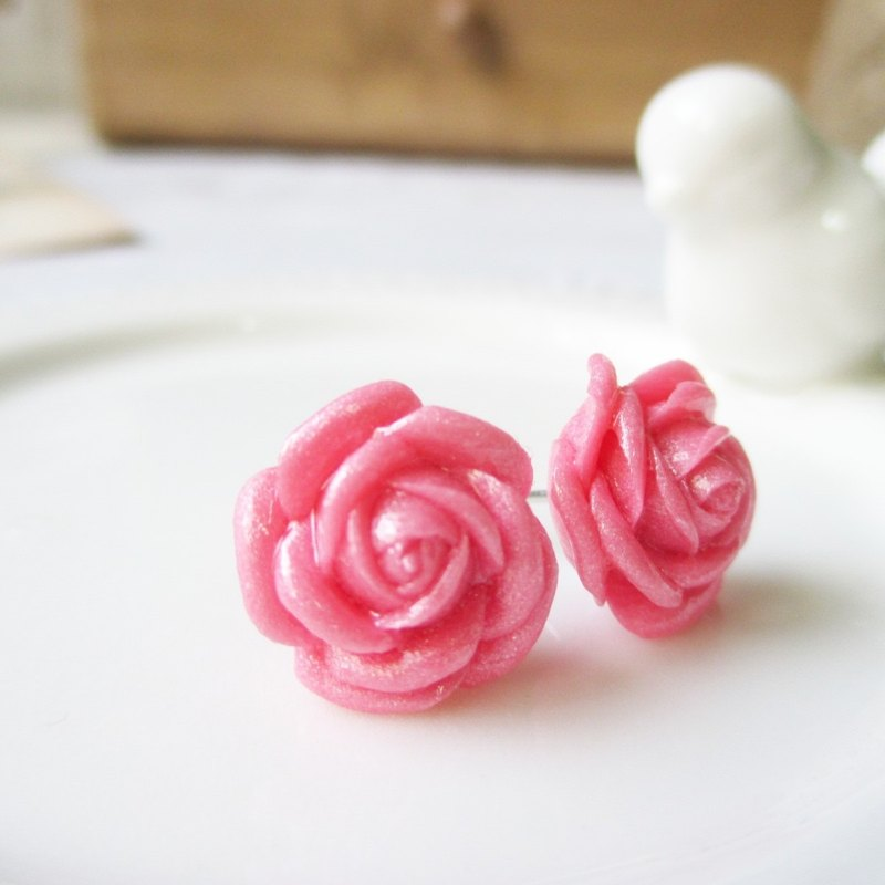 [Honey peach pink roses - wait lovely summer comes Manually roses. Stainless steel ear acupuncture. {Needle / cramping}