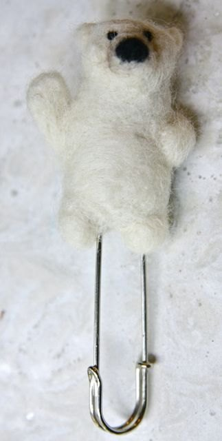 Felt polar bear pin