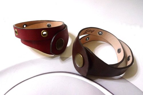 Rock Double Wrap leather bracelet - rivets red / coffee lines - New Arrivals