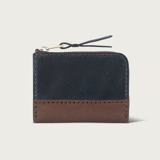 Contrast zipper short clip / coin purse / wallet - deep blue