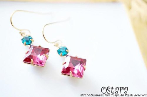 Rock Candy Earrings/Dark Pink&Indicolite