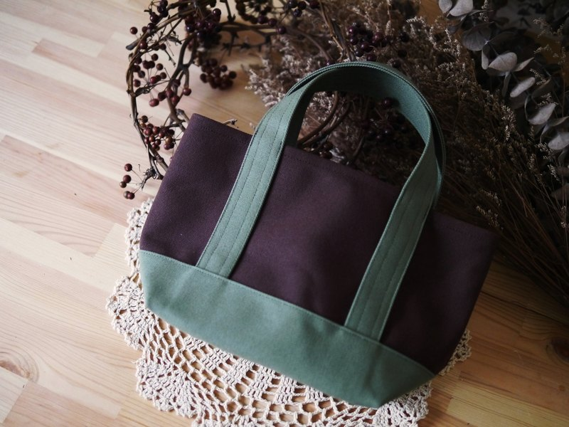 Classic Tote Bag Ssize coffee x olive - Coffee x Olive Green -