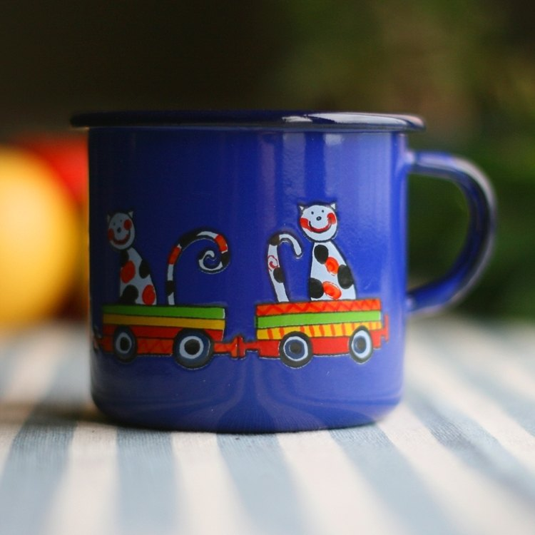 Smaltum Prague enamel cup Wang meow friend _ sapphire (250ml) <FDN000038>