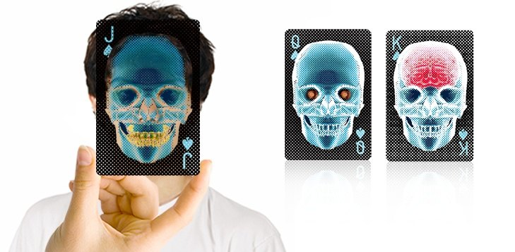 """X-ray"" Christmas New Year gift exchange / X-ray transparent skull poker"