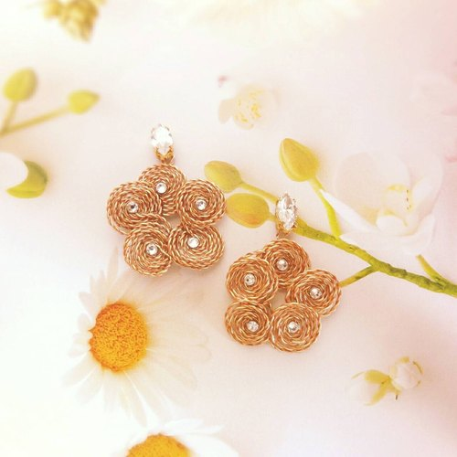 tching jewelry / handmade silk Challenge Series Accessories / grind Simei flower spiral plum flowers earrings ear / ear clip