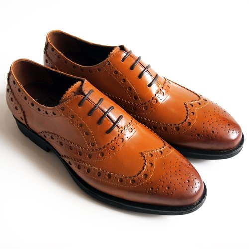 [LMdH] D1A14-89 hand-colored calfskin Wing-tip air wing pattern carved Oxford shoes free shipping ‧ ‧ Caramel