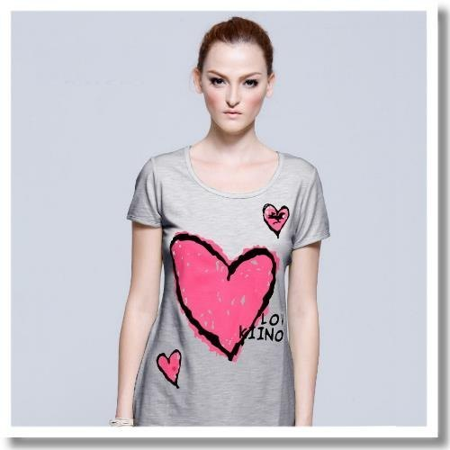 [KIINO] flocking three-dimensional love T-shirt - # 1815 # gray & amp; light green