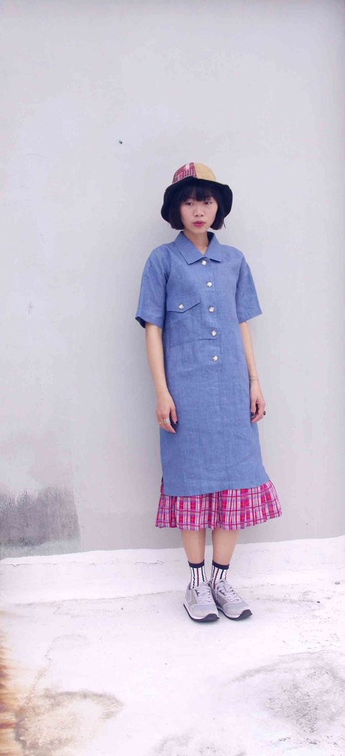 4.5studio- paddy rice to overseas vintage treasure hunt - a sense of cool linen dress shirt, blue denim straight