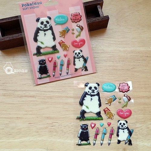 Marks Pokefasu PVC three-dimensional sticker (POK-ST2-PK Wenqing Panda)