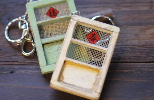 Whitewashed old wooden door screens keychain