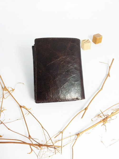 Nostalgia handmade leather short clip / wallet