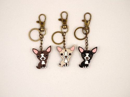 CutFing- wooden series -WOOD Q Chihuahua Keychain Charm