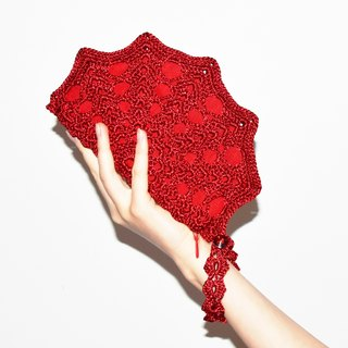 Scarlet Red Crochet Purse Clutch Bag – Little Red Crochet Handbag or Formal Clutch for Weddings, Christmas, Red Carpet Events, Prom etc.