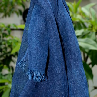 Blue dyed plant dyed linen scarf with linen primary color is relatively soft