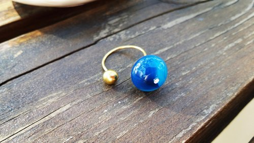 """DODOWU jewelry hand-made light"" [good mood brass ring simple life ※ natural gemstone blue agate crystal]"