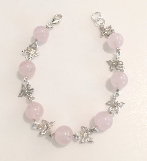 BR0322 - Mother's Day gift - natural stones - rose quartz with sterling silver 925 homemade hand and chain