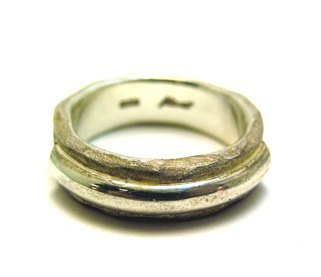 Pre Japanese silverware Kensscratch handmade silver ring / name bar-n-ring