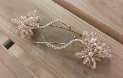 yywong exclusive stores --- pink nude color small sun wave clip / hairpin / hair accessories