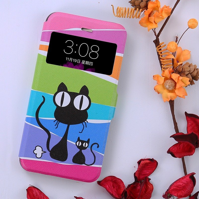 iPhone Leather Case - Mysterious Black Cat