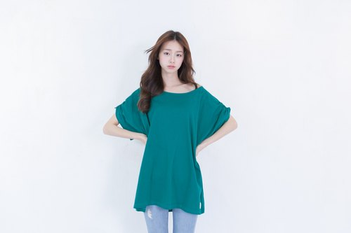 SUMI ◆ cannabis ◆ 4SF031_ fold sleeve blouse emerald