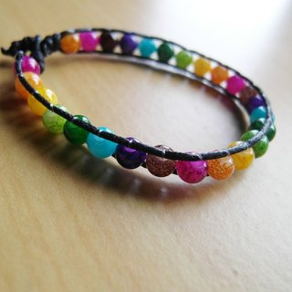 Colorful neon lights turn right / hand-woven beaded bracelet