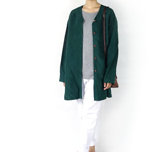 BajuTua / vintage / dark green silk blouse minimalist Long
