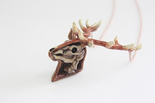 Anatomy of A Deer Head Skeleton Pendant with Hand-Painted Color Enamel / Modern Punk Rock Locket Jewelry / Brass Metal Work Necklace