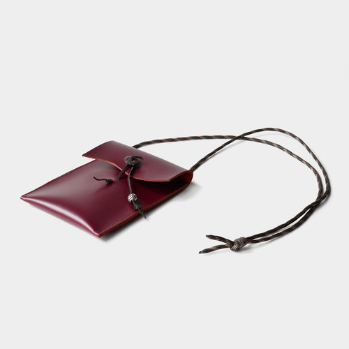 【Dionysian's ear】 leather mobile phone bag wine red leather mobile phone bag hanging neck can put a leisure card, documents IPHONE6,6s, 7