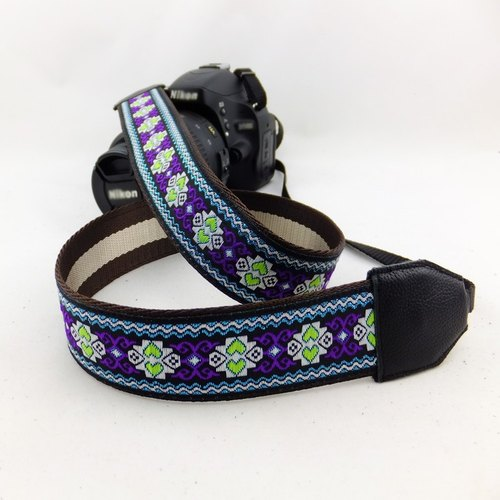 Camera strap can print personalized custom leather stitching national wind embroidery pattern 052