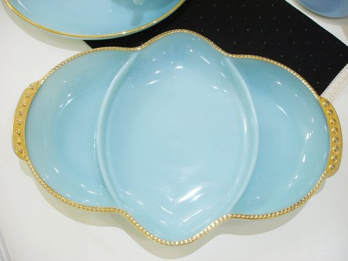 Fire King Turquoise Blue turquoise gold, elegant dessert plate
