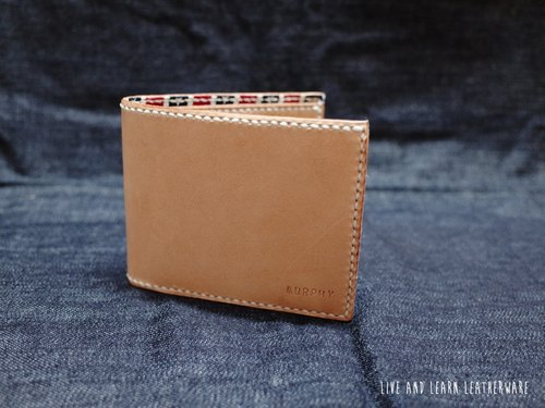Live and Learn - primary hand-stitched leather short wallet containing phase grid with fabric (vegetable tanned leather)