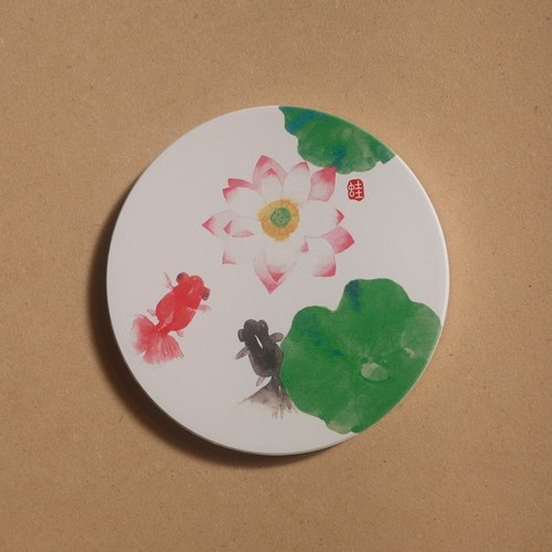 Watercolor goldfish Yingge Ceramics absorbent coaster