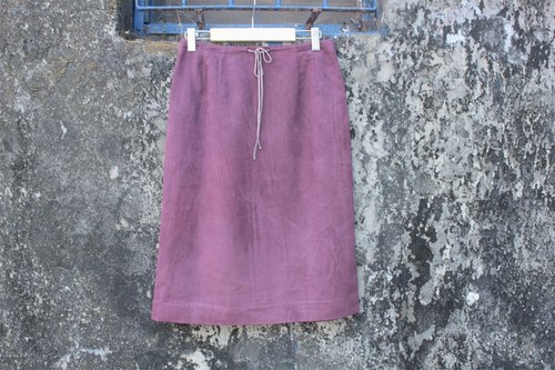 Purple suede drawstring skirt
