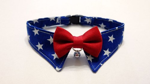 [Miya ko.] Handmade cloth grocery cats and dogs tie / gentleman collar / bow USA / wind / star / pet collars