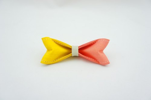 Paper Bow Tie - two color (yellow lightcoral) -No.202