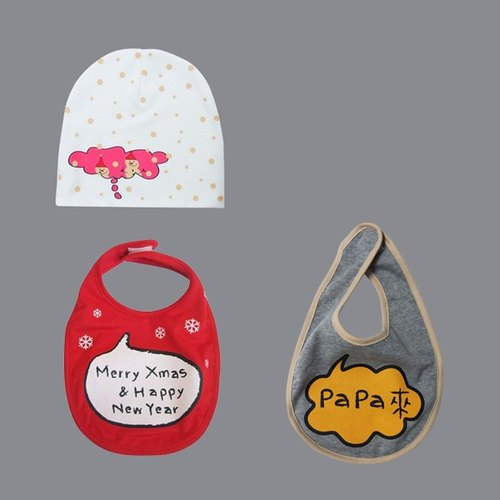 Christmas gift _ an organic hair like snowman hat + two sound Bibs