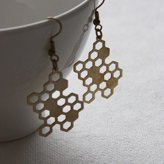 Geometric Honeycomb Illustration Brass Earrings
