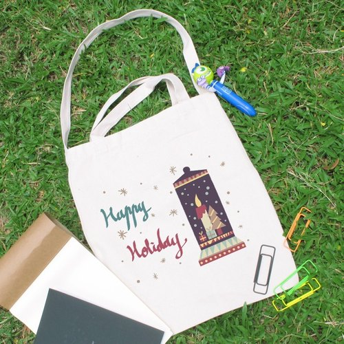 Christmas snow lovely wind straight canvas bag