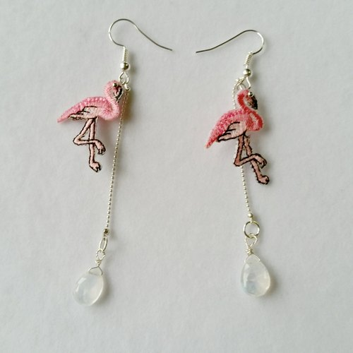 Flamingo Flamingo Flamingo Red Crane Moon Stone 925 Sterling Silver Long Earrings