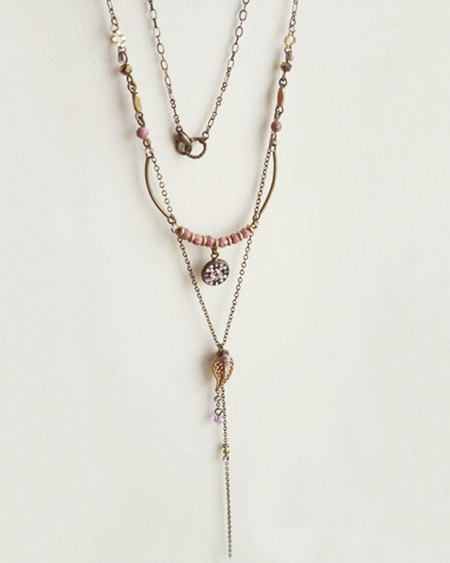Christmas gifts :: :: exotic mosaic tiles * small palace style double Y word necklace (purple). Natural stone. Collage. Gradient. Leaves. Brass