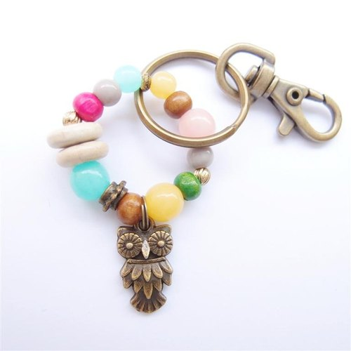 Owl beaded key ring