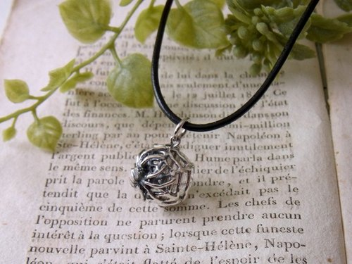 Spider ball pendant Silver rutile quartz with Leather cord necklace.