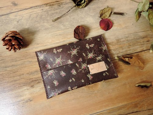 [Girlfriends ceremony] - pure hand-stitched leather carry glossy paper sleeve / bag - brown bottom Little Rose